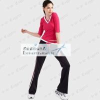 经典健身服瑜伽服健美操显瘦中袖团体表演广场舞服装套装女春
