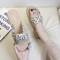 仙女风草编拖鞋外穿好时尚女士平底鞋舒适休闲女鞋