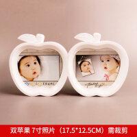 卡通创意挂墙儿童相框摆台7寸5 8六寸七寸宝宝相片框组合照片相架 双苹果(7寸+7寸 需修剪) 尺寸看图片