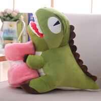 可爱恐龙暖手抱枕公仔插手毛绒玩具龙搞怪玩偶娃娃生日礼物女 +80×110cm毯子 50厘米暖手抱枕(可插手)