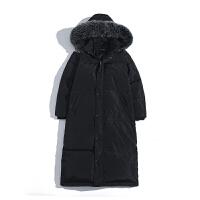 羽绒服男冬装加厚保暖学生外套潮流帅气连帽毛领长款过膝防寒男装 黑色 S