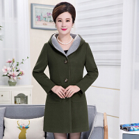 秋冬新款中老年女装大码羊毛呢外套长袖中长款妈妈女韩版上衣