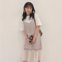 夏季女装新款韩版小清新中长款拼接格子假两件短袖连衣裙学生长裙