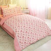 澳绒磨毛三四件套 纯棉加厚公主床上用品 女孩床单被罩 秘密花园粉色 蕾丝款4