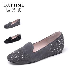 Daphne/达芙妮 水钻浅口单鞋平跟羊皮女鞋