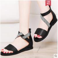 雅诗莱雅夏季新款韩国百搭学生夏天水钻平跟女鞋子女士平底学院风凉鞋YS-3218-S