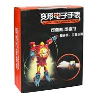 机器人儿童手表创意玩具变形金刚变形手表创意男孩女孩手表 C902中国红-彩盒