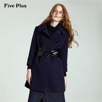 Five Plus新女装双排扣中长款宽松翻领羊毛呢外套2HD5345310