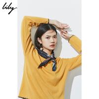 【100%纯羊毛】Lily秋新款全羊毛宽松毛针织衫119340B8368