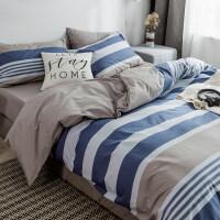简约条纹全棉四件套纯棉床单被套男宿舍单人1.2m床上三件套