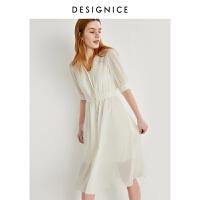 迪赛尼斯夏季新款约会泡泡袖公主气质高腰短袖中长裙连衣裙女
