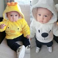 女婴儿衣服冬季1岁9个月男宝宝加厚连帽上衣新生儿女童外套秋冬装
