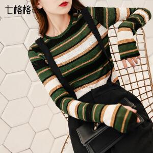 七格格长袖t恤女软妹打底衫春秋季装上衣潮外穿2017新款时尚韩版范条纹