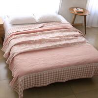 厚4层纯棉纱布毛巾被毯子单人加厚床单全棉毛巾毯空调毯春夏用 粉红色 厚四层回形花格