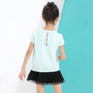 【尾品汇 5折直降】amii童装女童T恤2017夏新糖果色字母绣花休闲上衣贴布印花t恤薄
