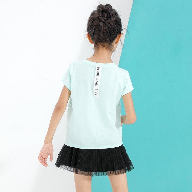AMII童装女童T恤2017夏新糖果色字母绣花休闲上衣贴布印花t恤薄.