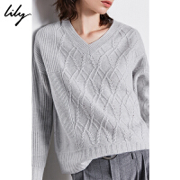 【2件4折到手价:599.6元】 Lily冬新款女装气质罗纹编织羊绒V领宽松薄套头毛针织衫8E21