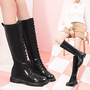 【毅雅】帅气休闲系带高筒靴子休闲平底女鞋子