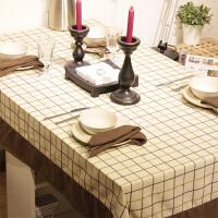 咖啡格调格子简约美式风桌布布艺餐桌布套装台布刺绣茶几布可定做