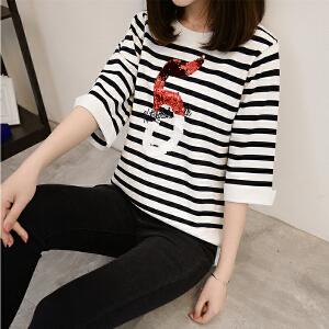 春夏季新款冰丝女装五分袖薄款空调衫针织衫宽松黑白条纹中袖t恤