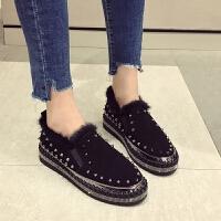 松糕鞋女厚底冬季新款韩版百搭真皮铆钉毛毛鞋加绒一脚蹬女鞋