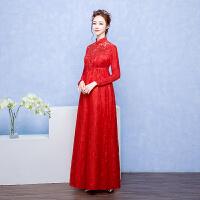 孕妇敬酒服新娘新款大码高腰红色短款结婚晚礼服女长袖春季女 X