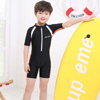 儿童泳衣连体平角速干男女孩中小大童宝宝专业训练速干防晒游泳衣