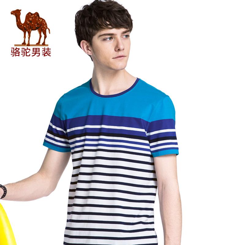 骆驼男装 2018年夏季新款年青年休闲圆领条纹T恤微弹柔软薄上衣