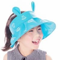 缕巷 新款透气中童男女1-8-12岁防晒沙滩帽儿童折叠帽防晒夏季半空顶遮阳帽