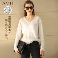 【折后价:192元/再叠券】Amii极简法式纯羊毛衫套头毛衣2021新款V领显瘦宽松针织上衣女士
