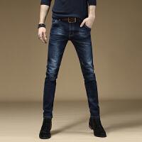 弹力牛仔裤男士韩版潮流小脚牛仔裤子男修身简约蓝色牛仔裤 蓝色