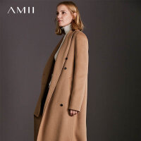 Amii[极简主义]现代 74%羊毛26%羊绒双面呢毛呢外套女 新款冬大衣