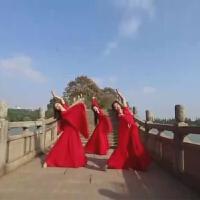 凉凉舞蹈演出服 古装汉服广袖大鱼女飘逸舞蹈服 古典舞红色中国风