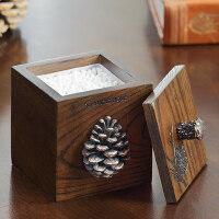 家居摆件美式创意中式桌面收纳盒树脂棉签盒木质化妆品棉收纳盒 10月新品
