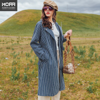 MOFFI女式风衣2017秋季新品蓝色条纹腰带气质中长款欧美风衣 蓝色