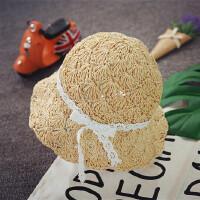 亲子太阳帽手工编织草帽儿童沙滩帽女大沿帽可折叠遮阳韩版潮夏天