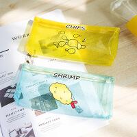 韩版小清新笔袋透明PVC铅笔盒迷你可爱糖果色女生零食随身包