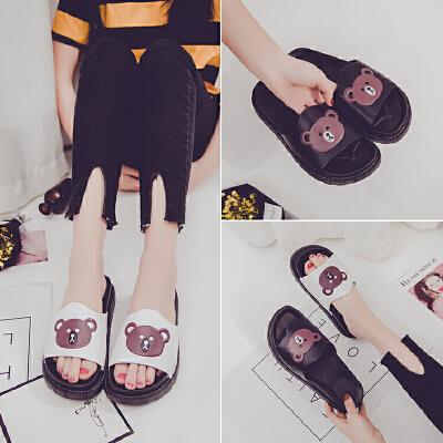 2018新款女士拖鞋女夏时尚外穿韩版百搭室外防滑厚底胖嘟嘟熊一字凉拖