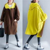 正反两穿超大码女装秋胖M200-300斤加肥胖秋冬风衣灯笼袖毛呢外套