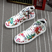 新款潮流男鞋高帮鞋韩版印花板鞋夏季系带圆头休闲鞋青年个性潮鞋