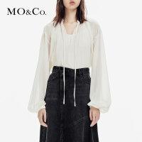 MOCO秋季新品V领系带灯笼袖轻薄上衣MA183TOP119 摩安珂