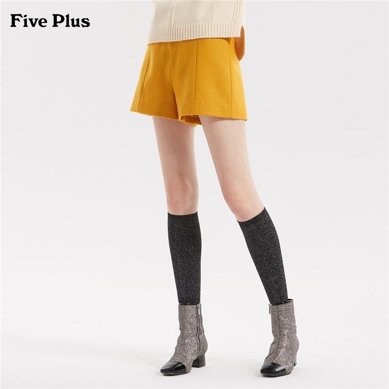 Five Plus女装羊毛呢料短裤女高腰阔腿裤子宽松潮纯色百搭 羊毛呢料阔腿短裤