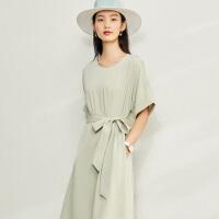 【券后预估价:130元】Amii极简赫本风气质连衣裙2020夏新款收腰显瘦短袖中长款雪纺裙子