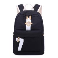 高中初中学生书包女韩版校园简约森系大容量旅行背包帆布生双肩包