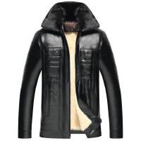 男装皮衣新款英伦冬季大码男士加绒加厚保暖中老年爸爸装PU皮夹克