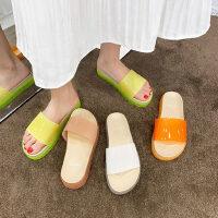 女士糖果色外穿拖鞋女 时尚百搭凉拖鞋透明一字拖鞋学生 新款果冻厚底凉鞋女