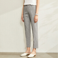 【到手价:140元】Amii极简职业装烟管裤九分裤2020春新款高级灰色织直筒休闲裤女
