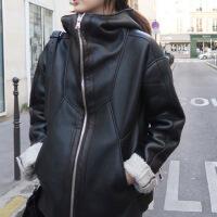 秋冬新款皮毛一体加厚羊羔毛复合皮衣女式棉衣外套潮 黑色
