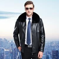 中老年男装冬装真皮皮衣男士绵羊皮夹克男加绒皮草狐狸毛领男外套