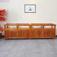 实木柜台 玻璃1.5米展示柜仿古家具中式实木展示柜珠宝柜矮柜